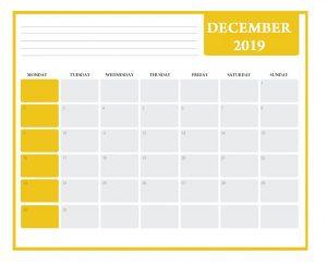 December 2019 Office Desk Calendar