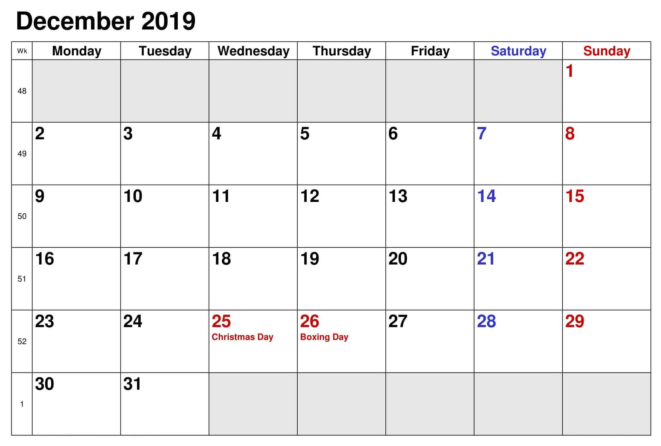 December 2019 UK Bank Holidays Calendar
