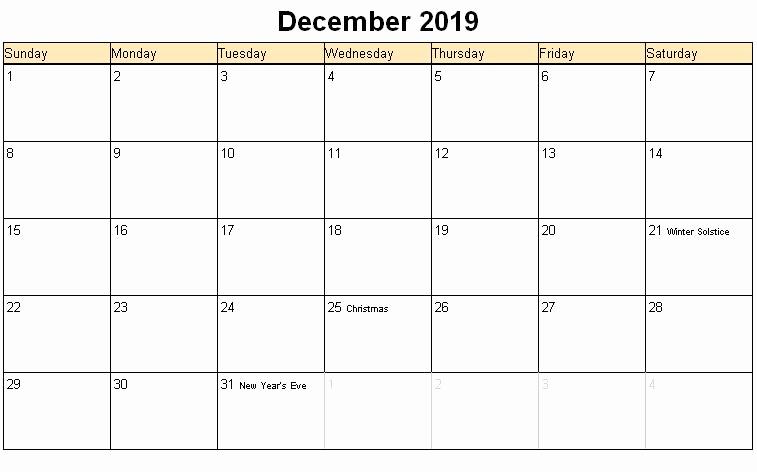 December Holidays 2019 Calendar