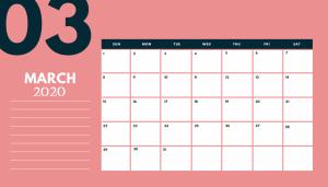 Desk Calendar For March 2020
