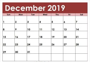 Editable December 2019 Calendar Colorful Template