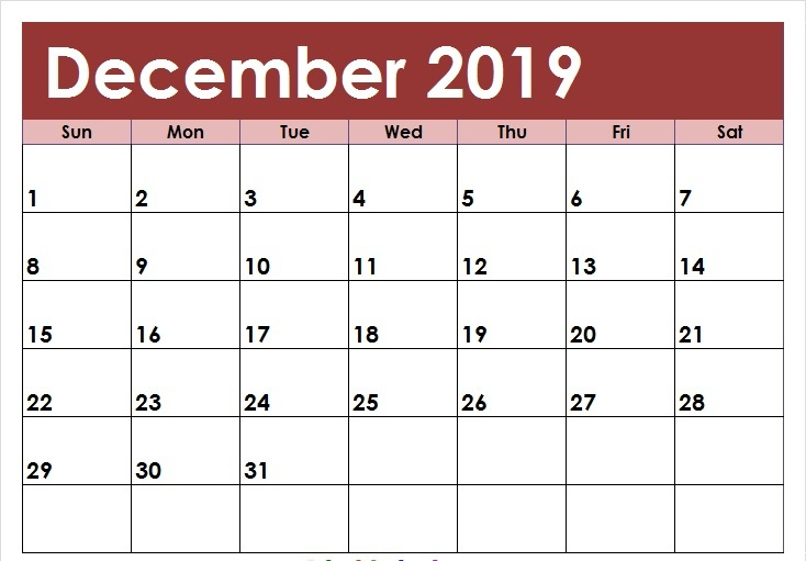 Editable December 2019 Calendar Colorful Template