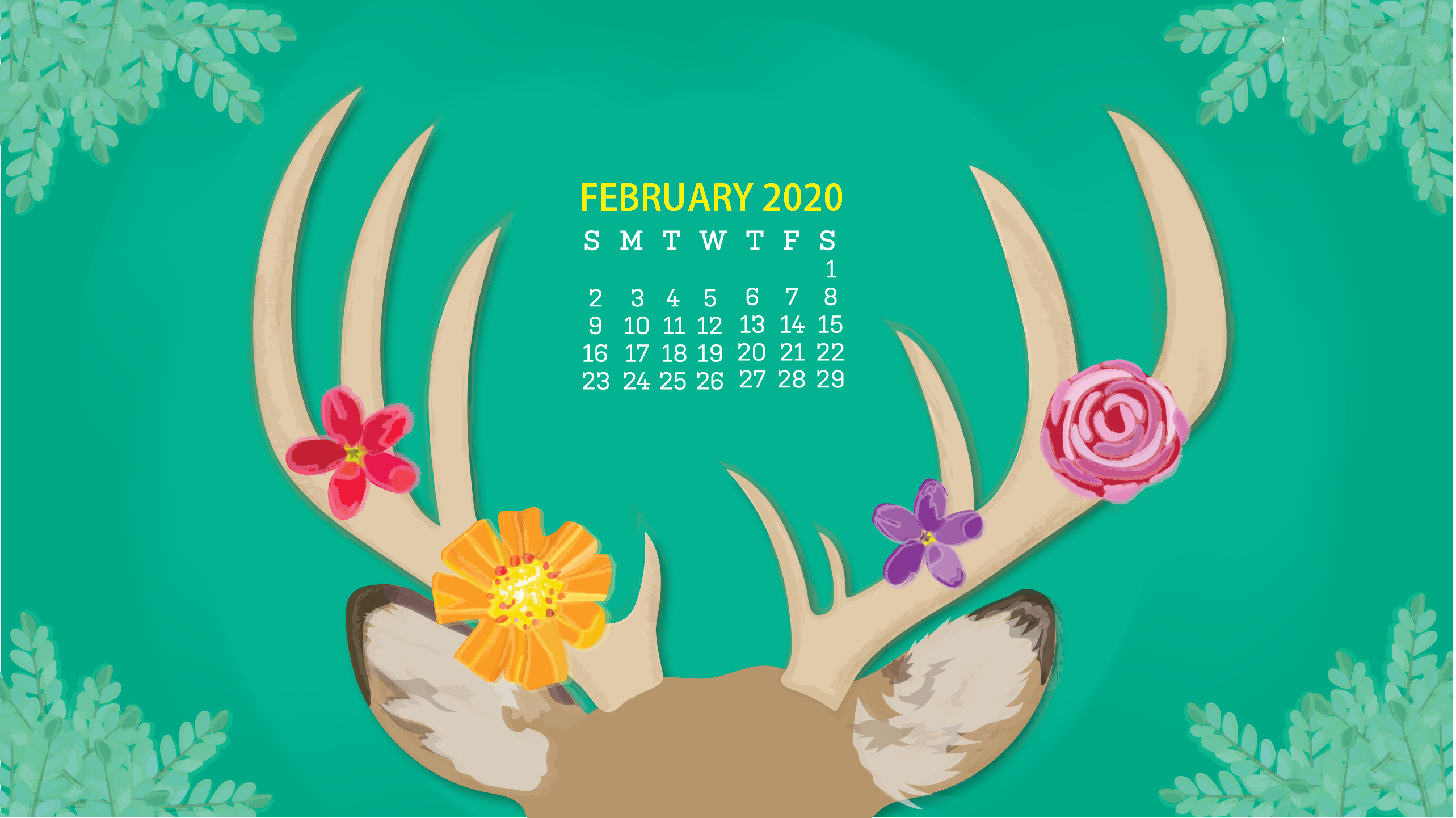February 2020 Desktop Calendar Wallpaper