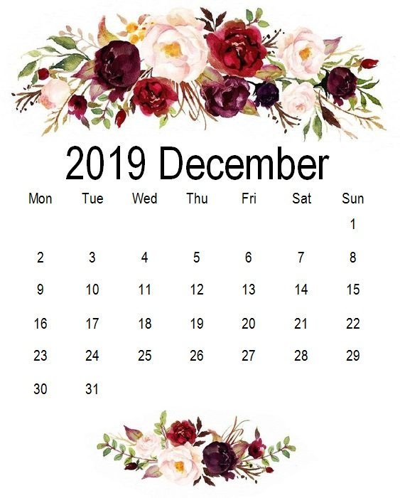 Floral iPhone December 2019 Calendar Wallpaper