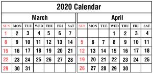 Free March April 2020 Calendar Printable