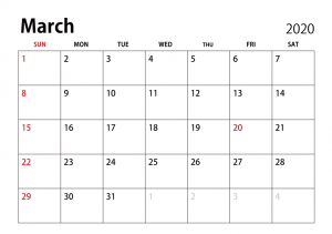 Monthly Calendar March 2020 Editable