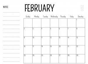 Monthly February Calendar 2020 with Notes