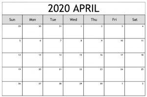 Online April 2020 Calendar Editable