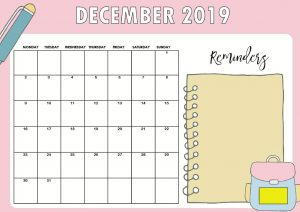 Printable December 2019 Cute Calendar