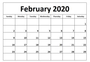 Printable February Calendar 2020