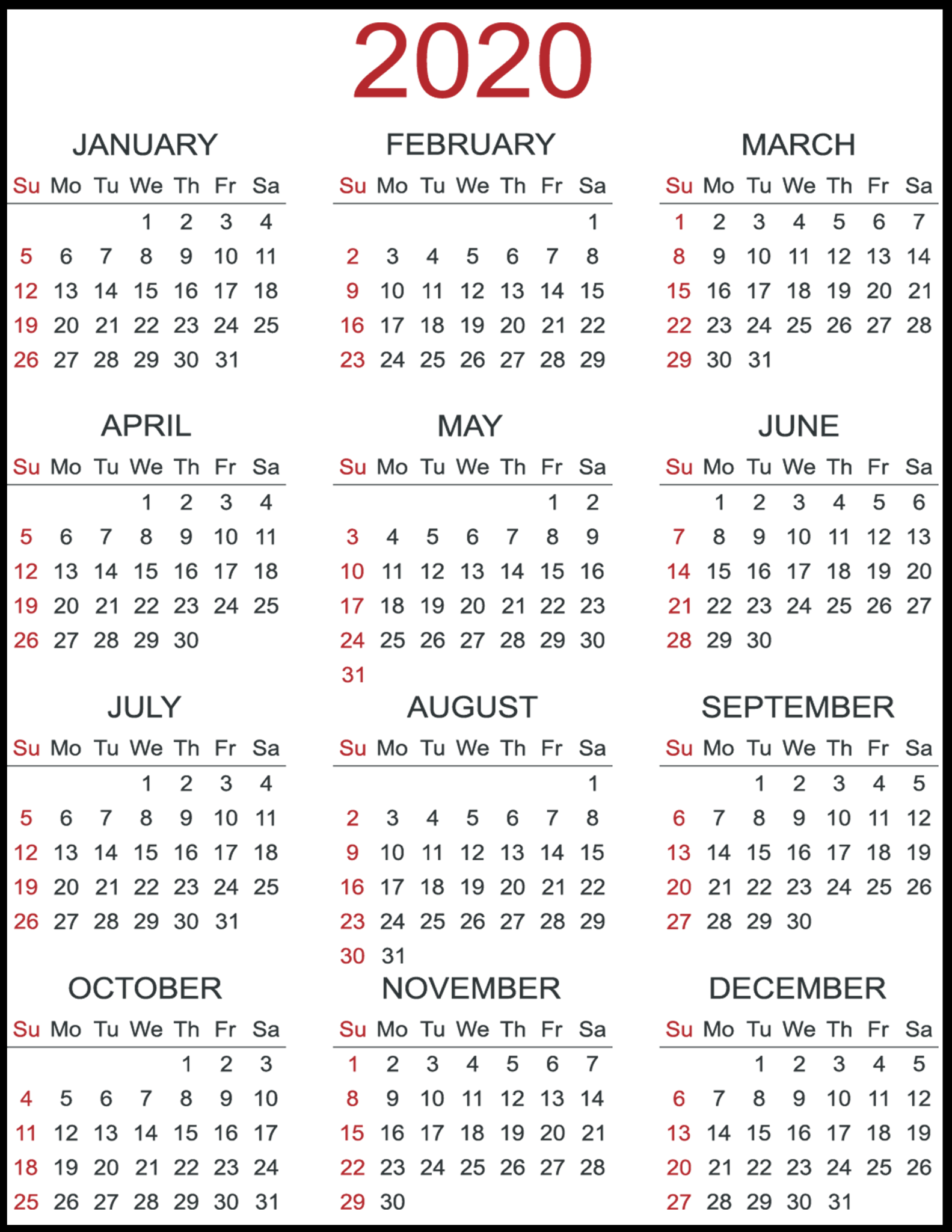 12 Month Yearly Blank Calendar 2020