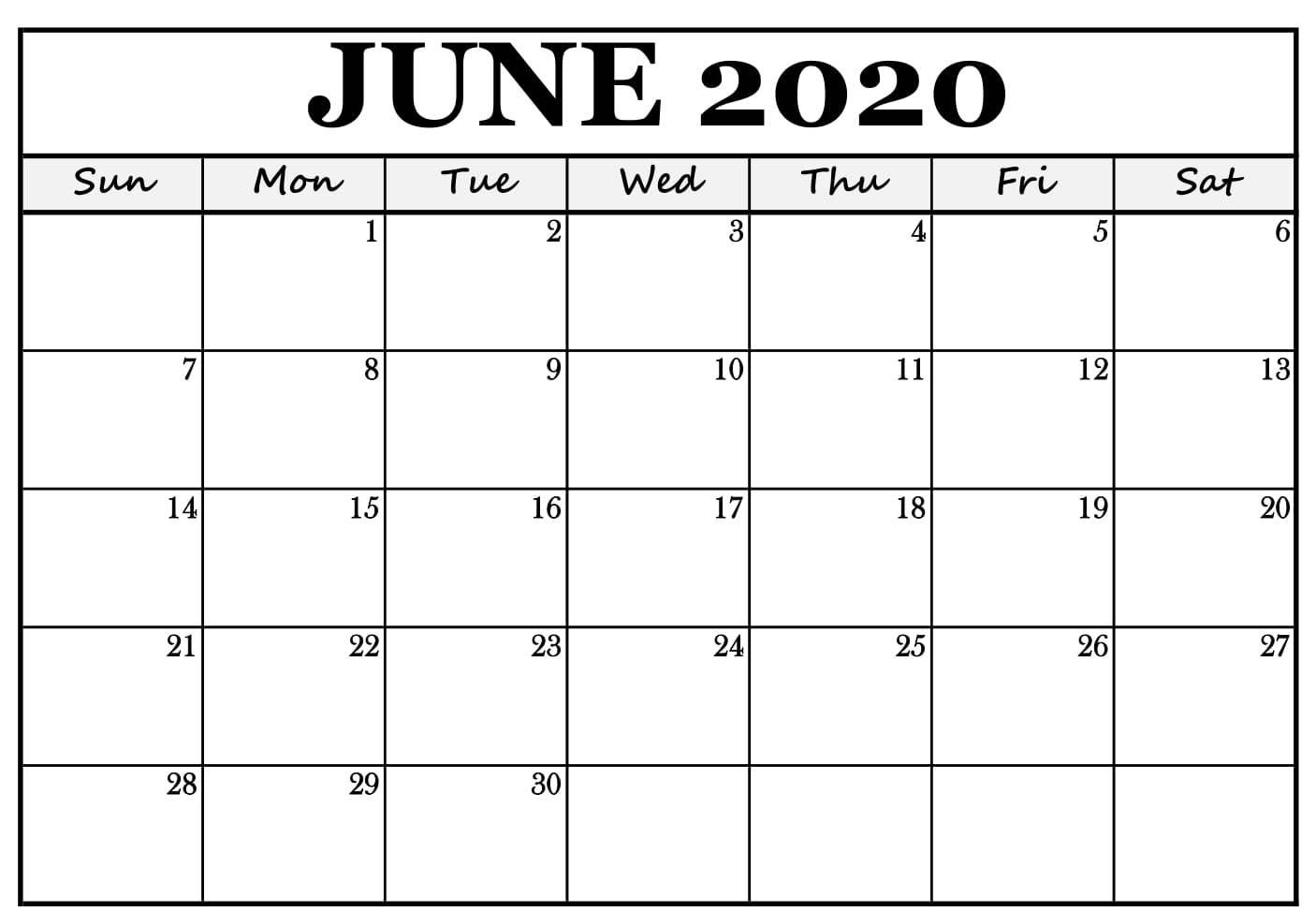 2020 June Calendar Template