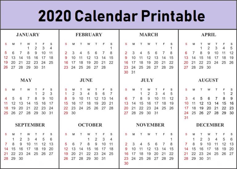 2020 Printable Blank Calendar Template