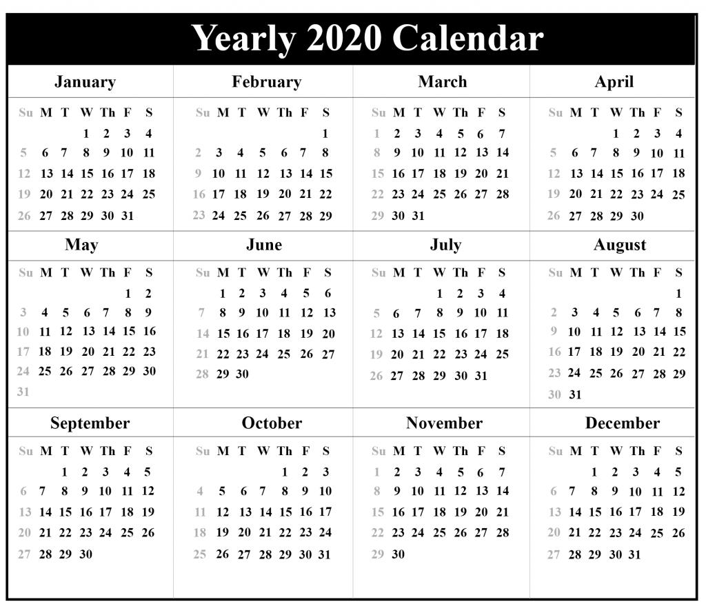 2020 Yearly Blank Calendar