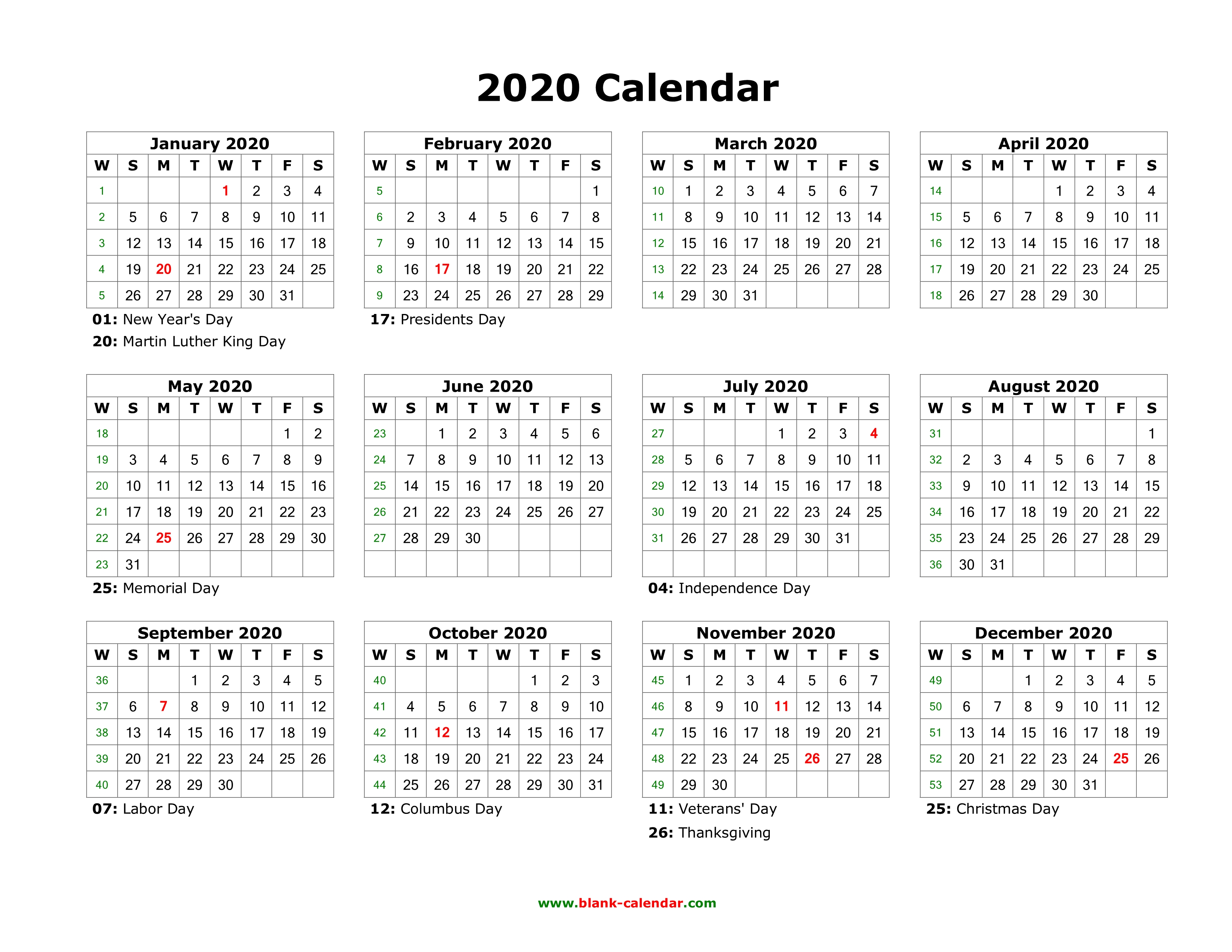 Blank Calendar 2020 Printable