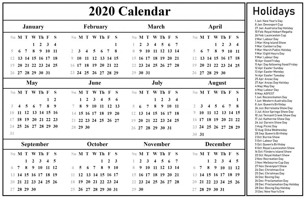 Blank Calendar 2020 With Holidays