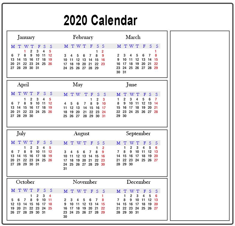 Blank Calendar 2020 Word