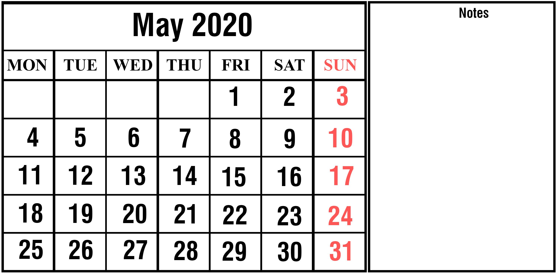 Blank Calendar Template May 2020