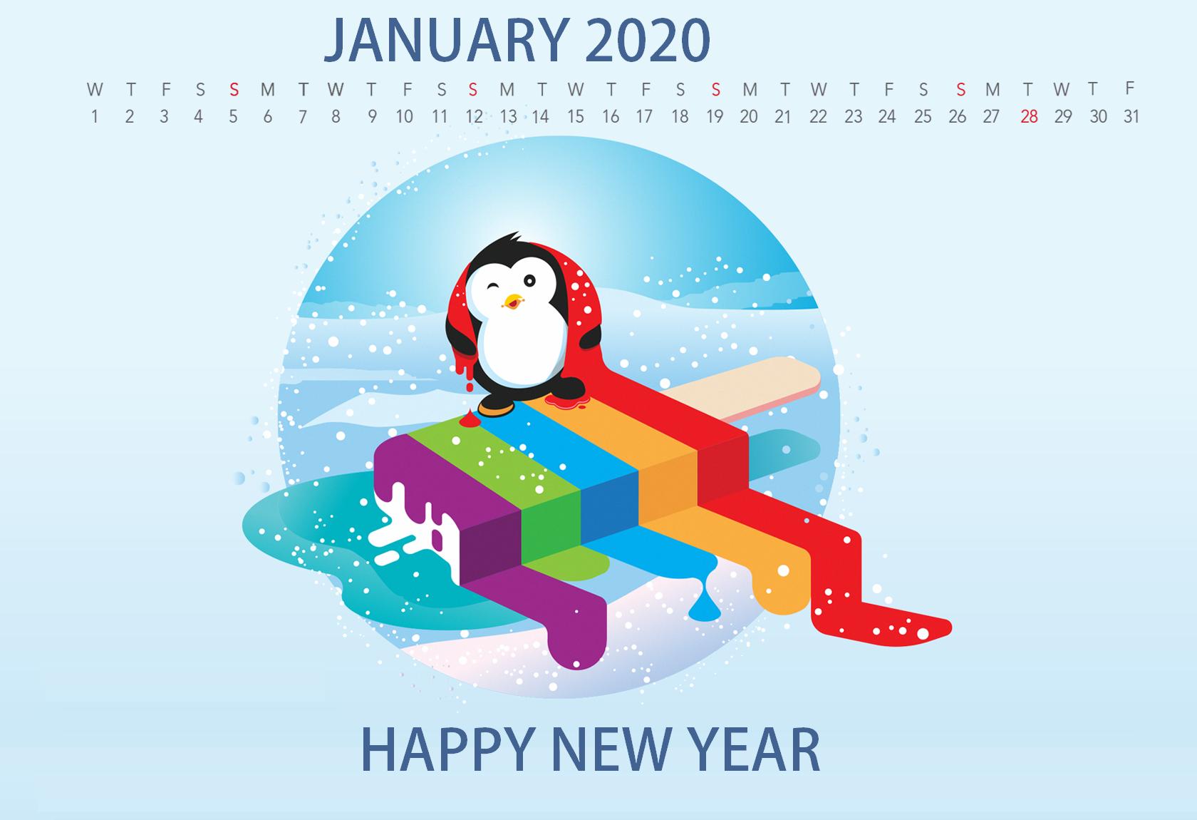Cute January 2020 Desktop Calendar Wallpaper