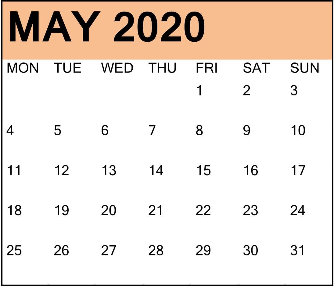 Cute May 2020 Desk Calendar