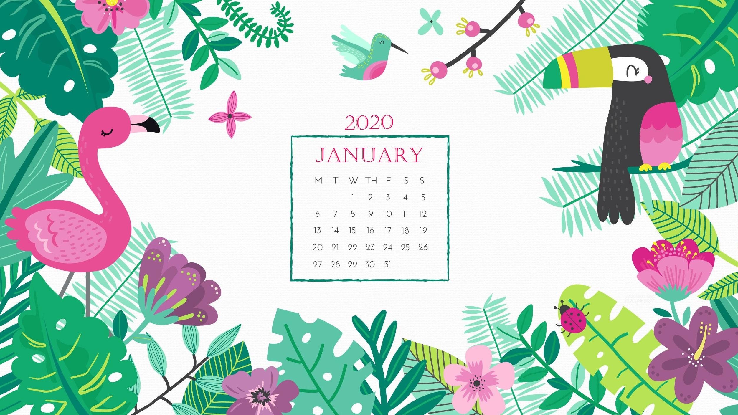 Desktop Calendar Wallpaper January 2020