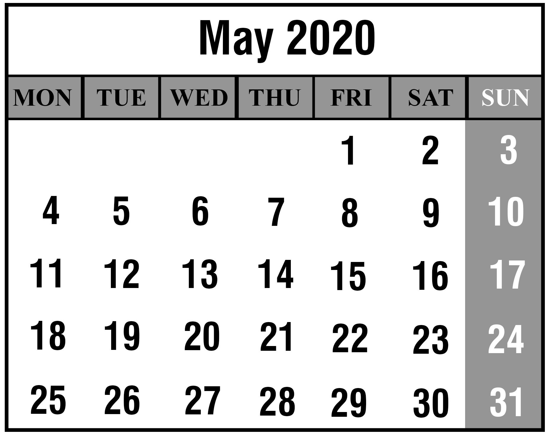 Editable May 2020 Printable Calendar Template