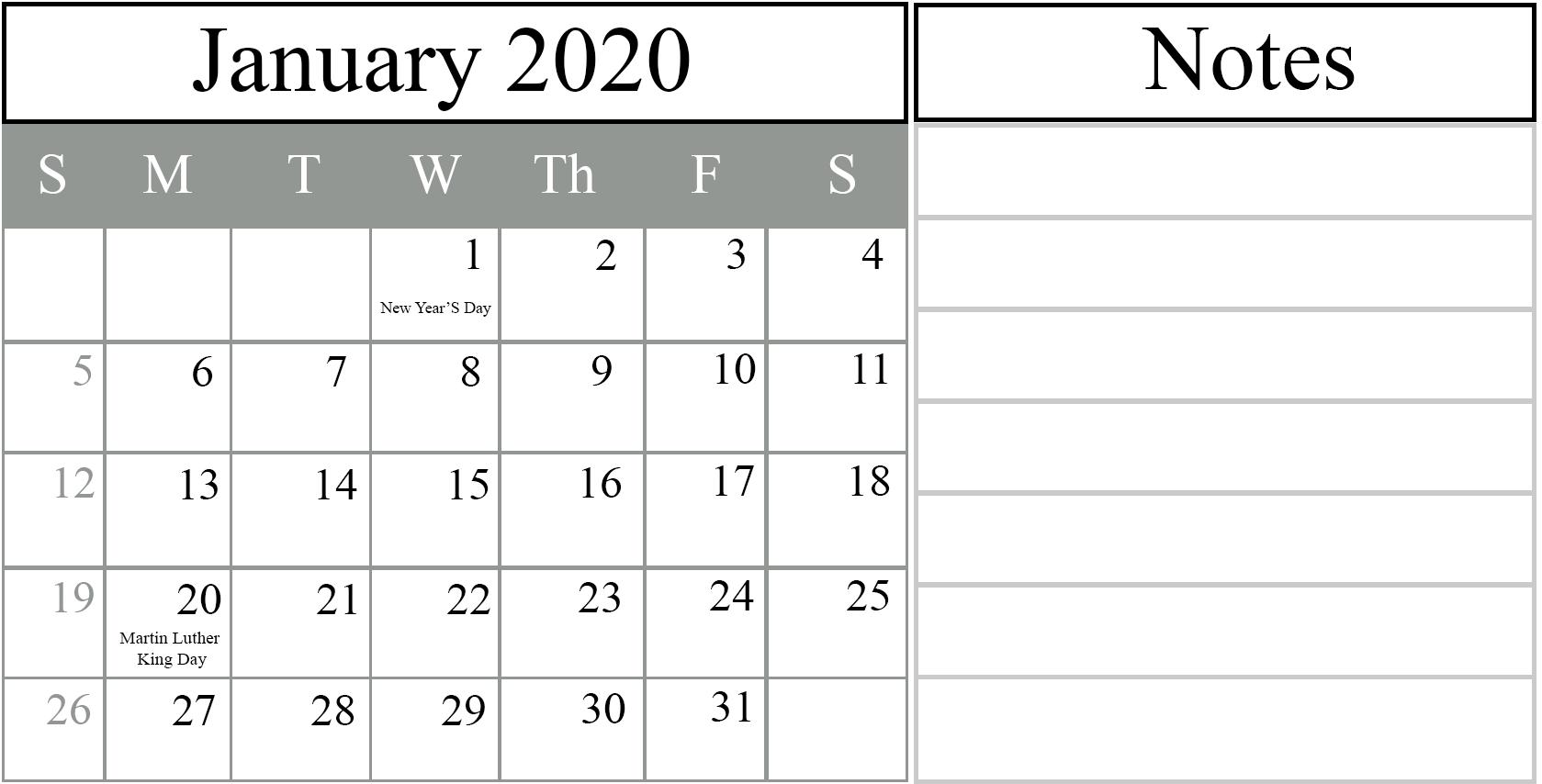 Federal Holidays Calendar January 2020