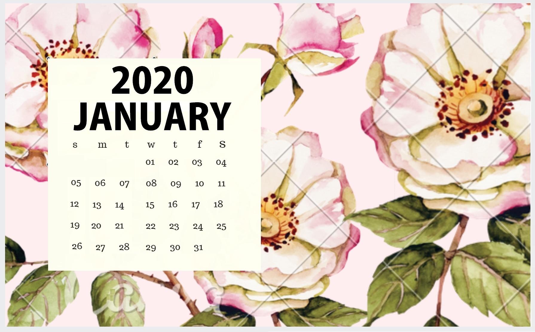Floral January 2020 Desktop Calendar Wallpaper