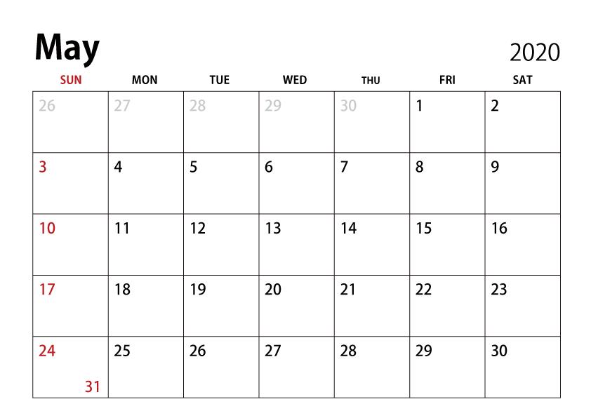 Free May 2020 Calendar Image