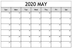 Free May Calendar 2020 Printable Template