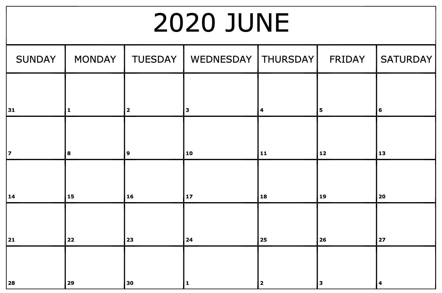 Free Printable June Calendar 2020