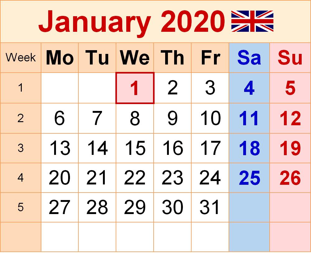 Holidays Calendar January 2020 UK
