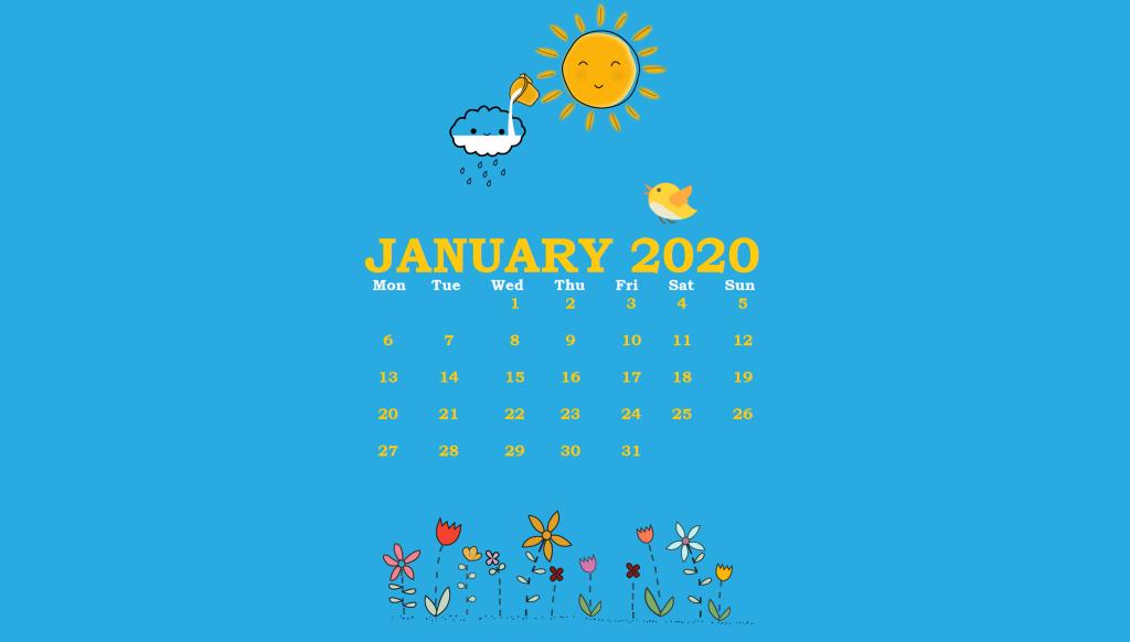 January 2020 Background Calendar Wallpaper
