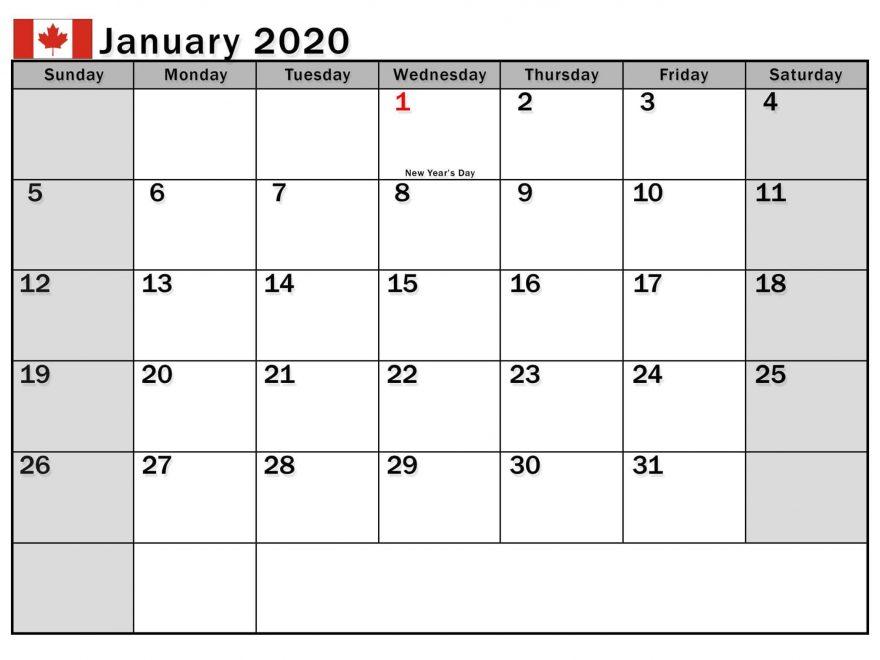 January 2020 Calendar Canada School Holidays