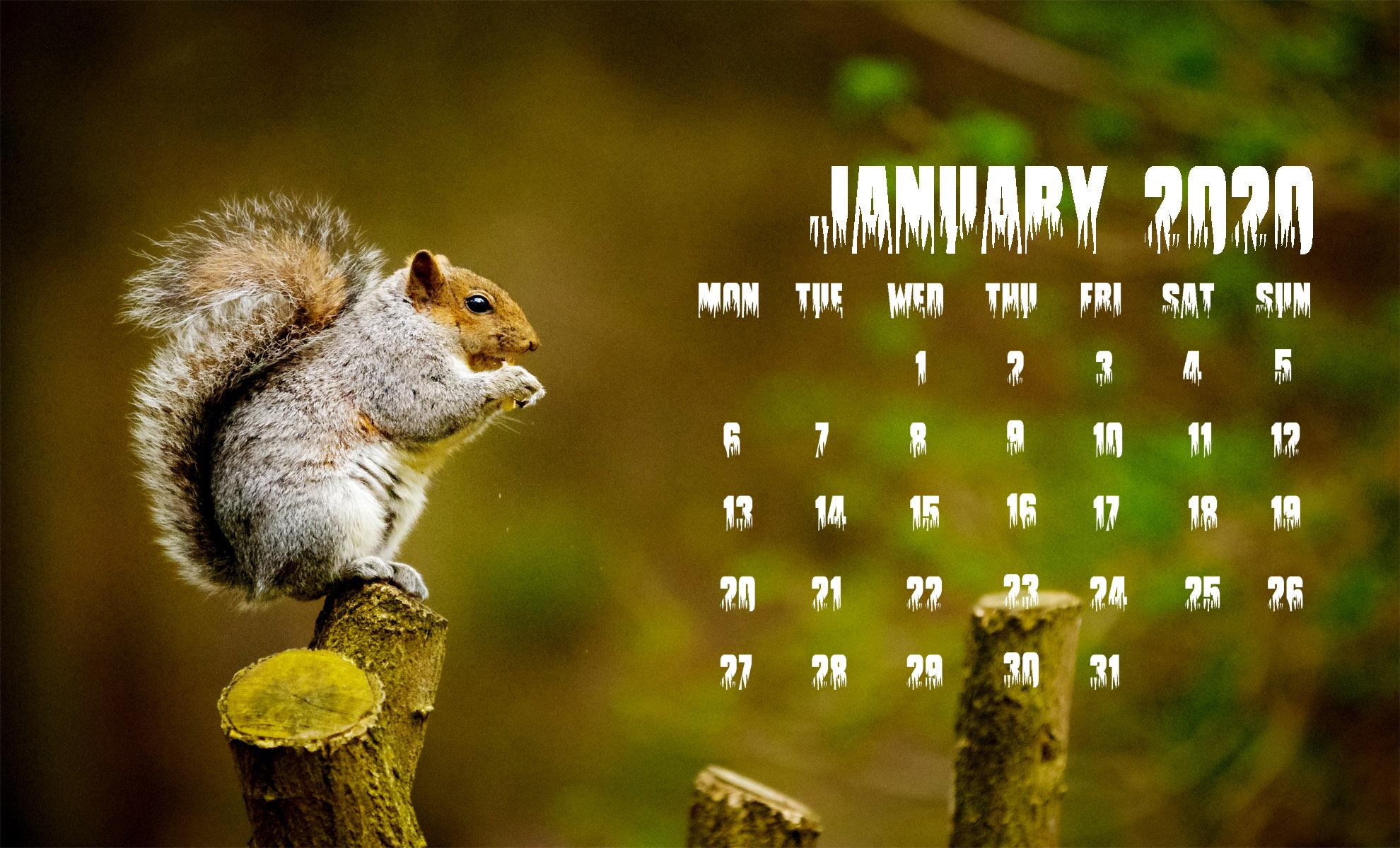 January 2020 Calendar Screensavers