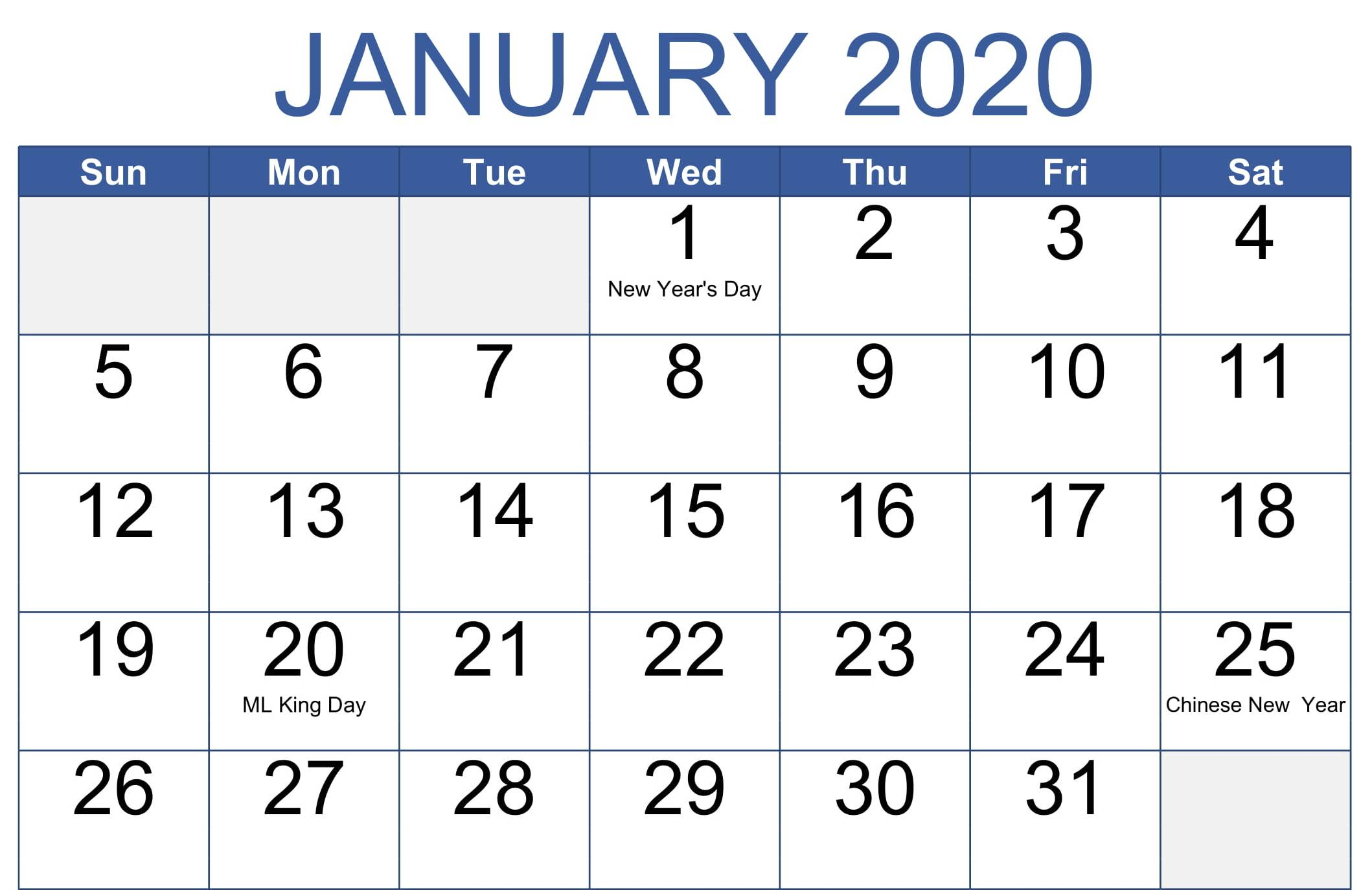 January 2020 Calendar With Holidays Word