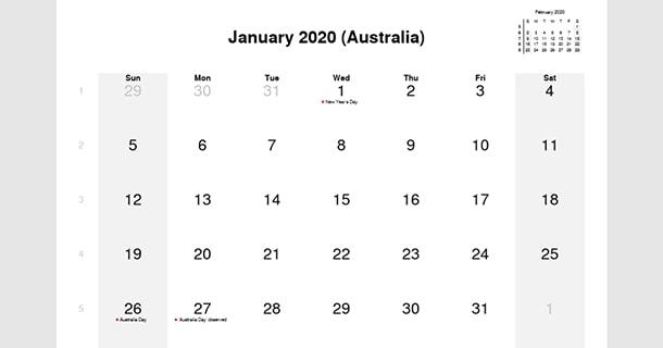 January 2020 Calendar with Australia Holidays