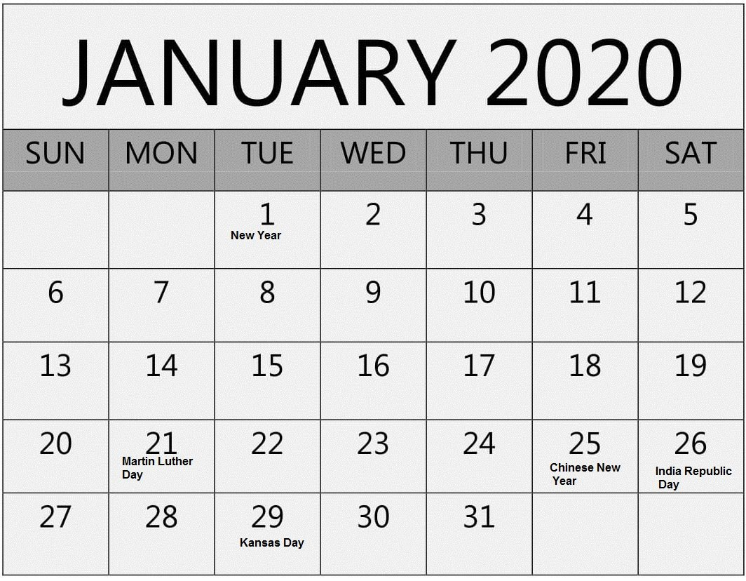 January 2020 Holidays Calendar Template