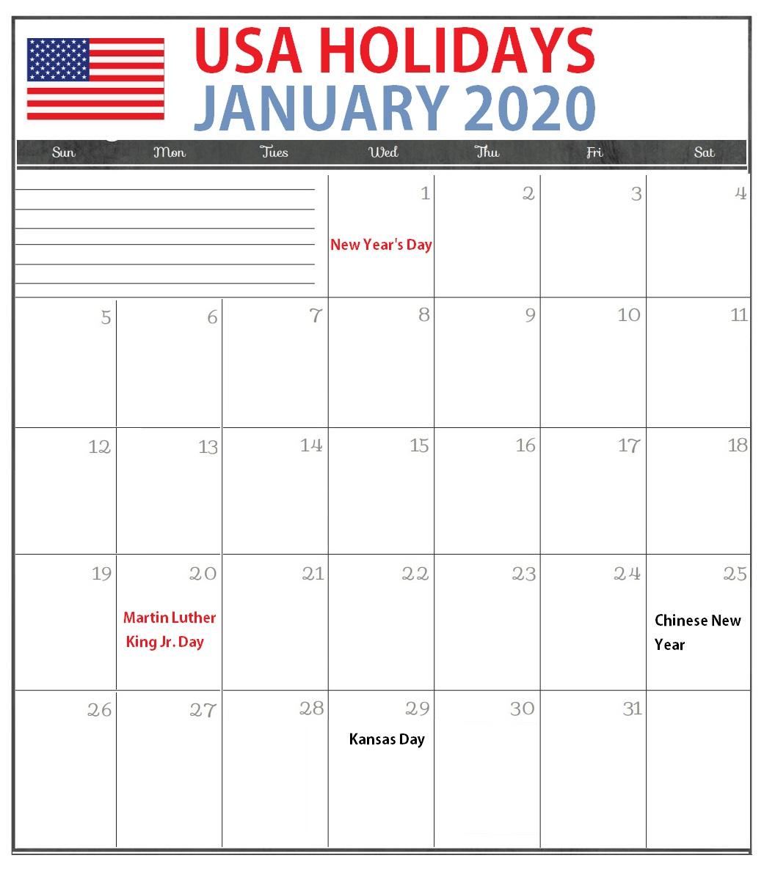 January 2020 USA Holidays Calendar