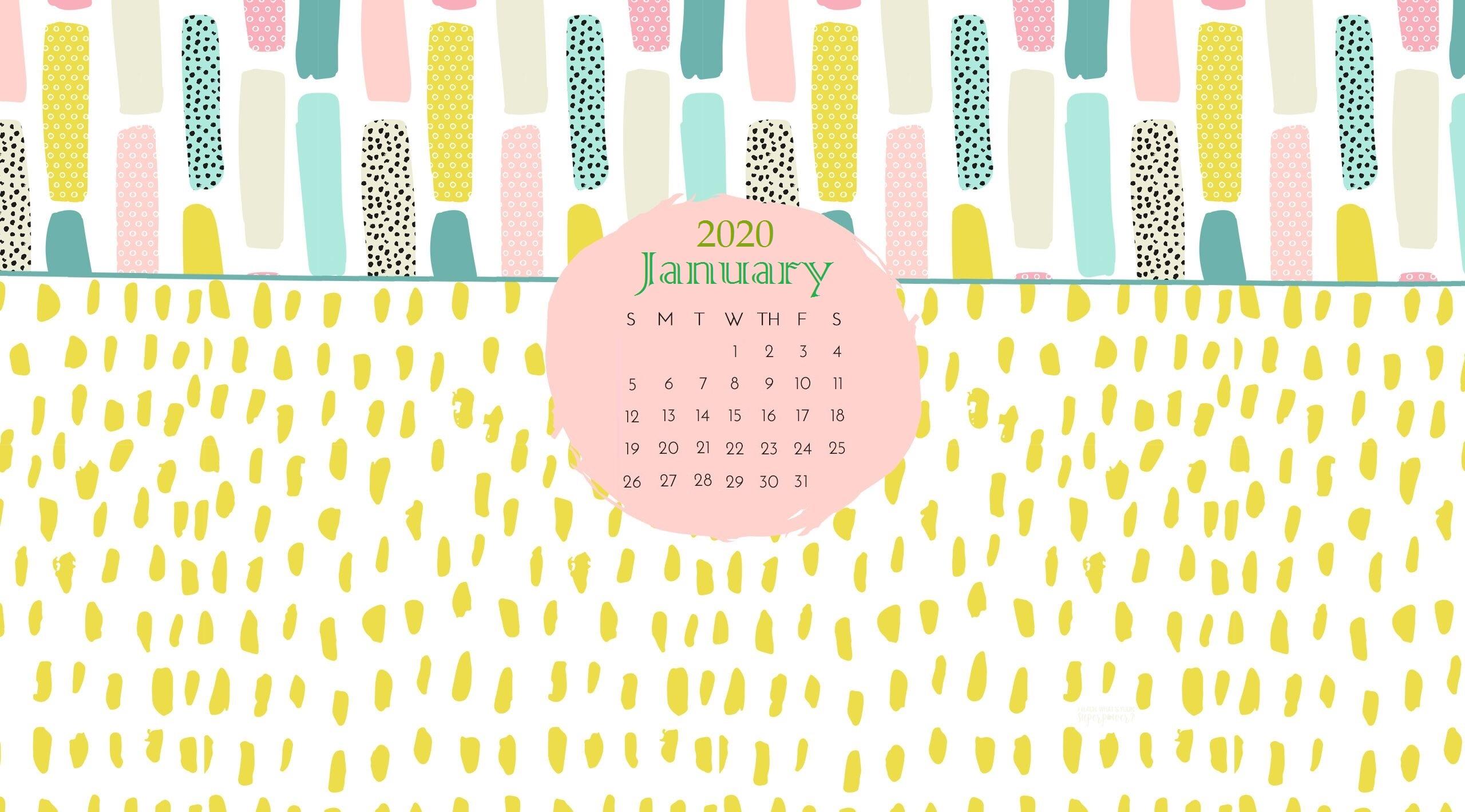 January 2020 Desktop Calendar Wallpaper