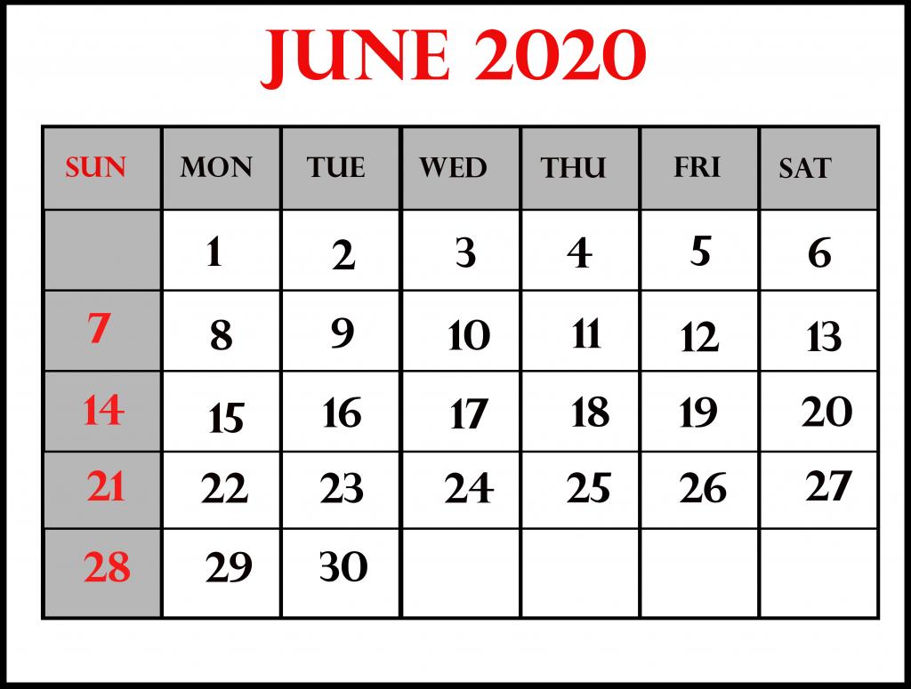 June 2020 Calendar PDF