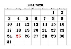 Monthly May 2020 Blank Calendar