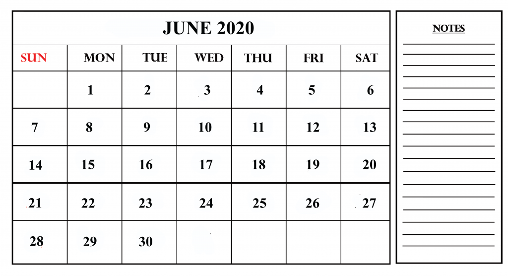 Print June 2020 Calendar with Notes