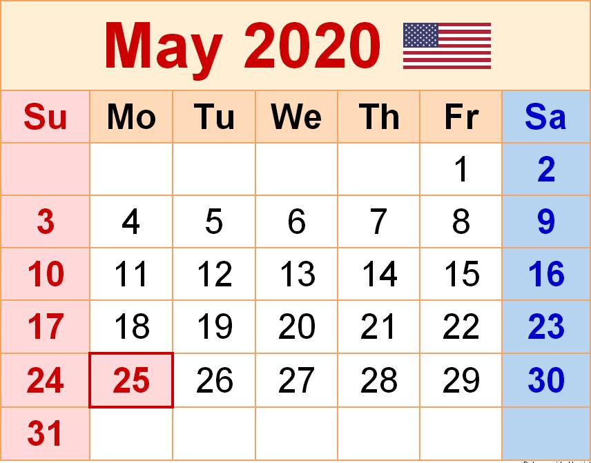 USA May Calendar 2020 Template