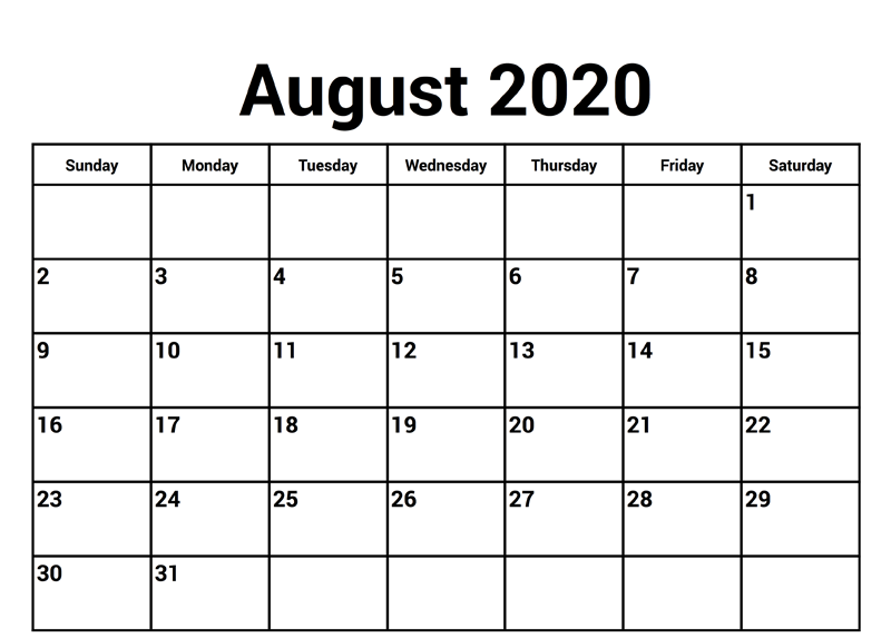 2020 August Calendar
