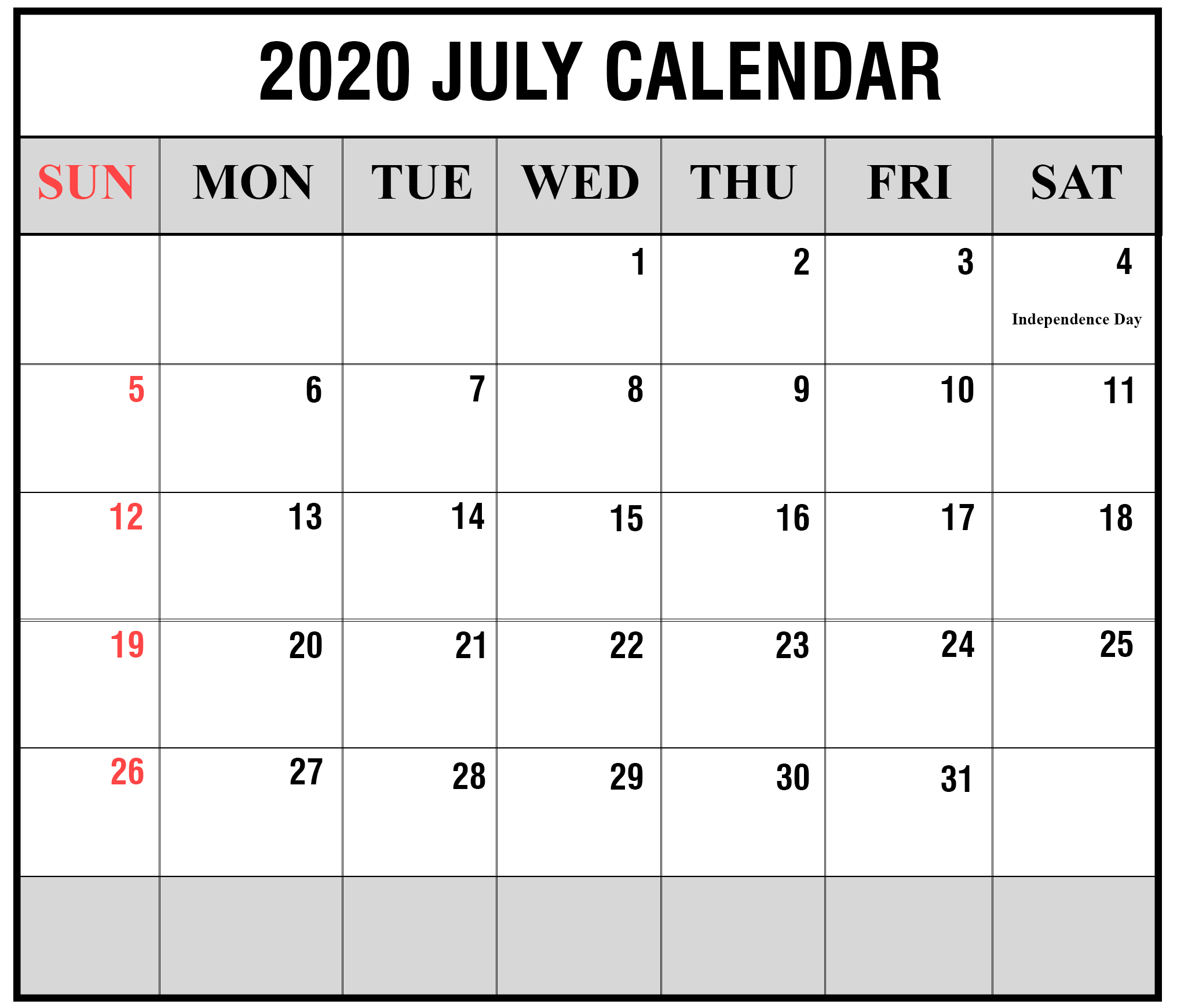 2020 July Calendar with Holidays