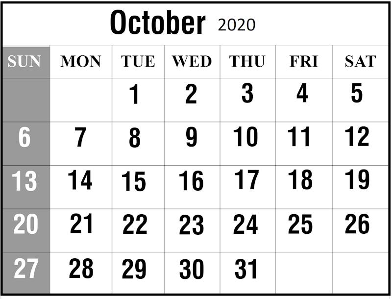 2020 October Calendar Blank Template
