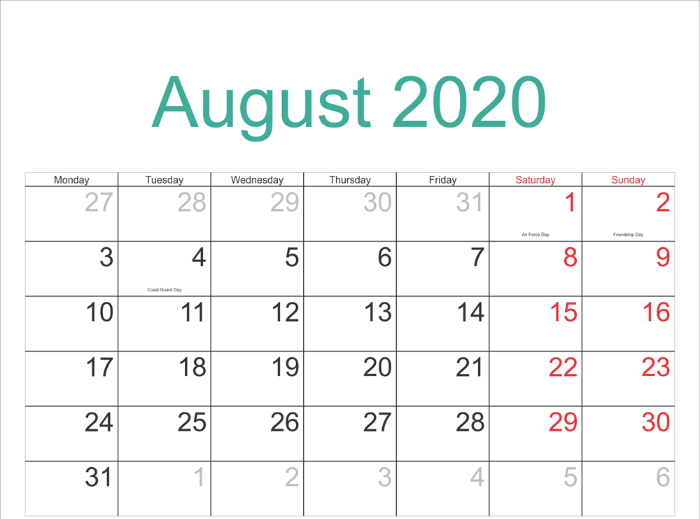 August 2020 Calendar With Holidays
