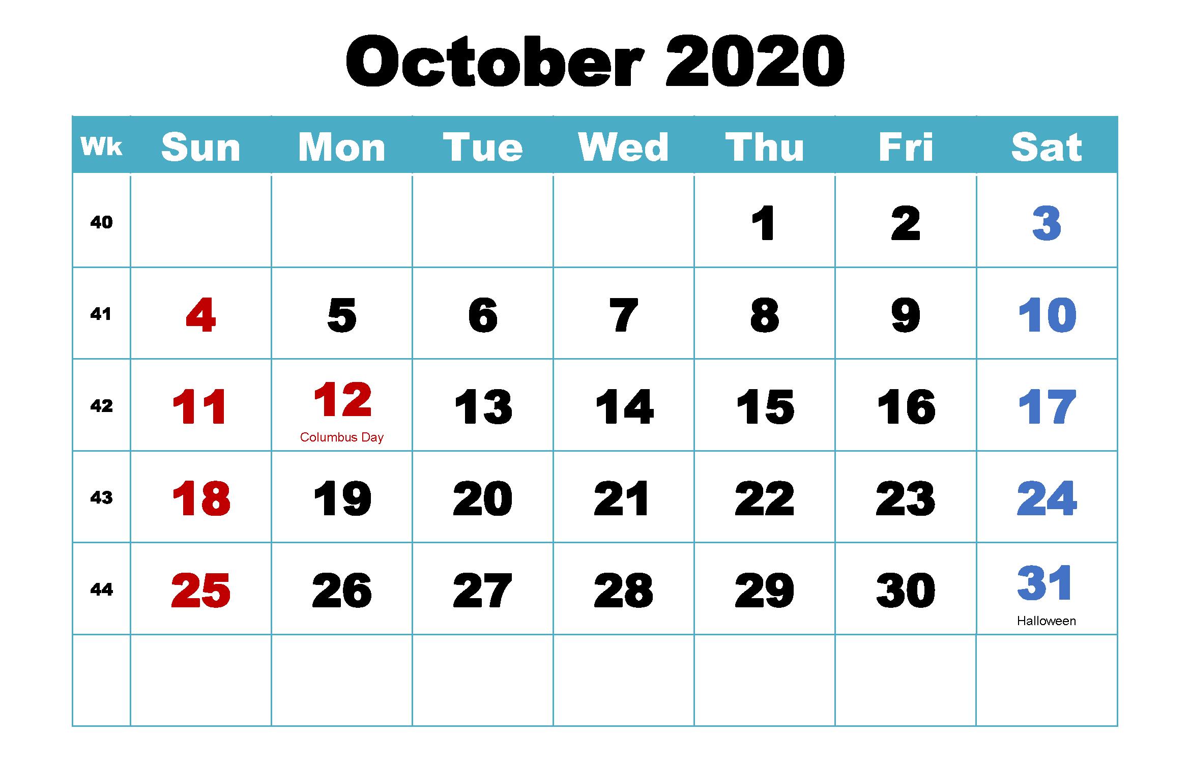 Cute October 2020 Calendar Design