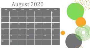 Decorative August 2020 Calendar Template